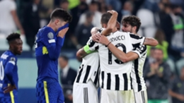 Juventus players celebrate their victory over Chelsea