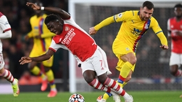 Saka was forced off through injury following a late challenge by McArthur