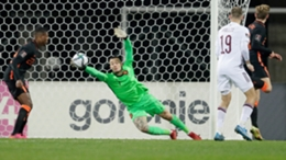 Justin Bijlow makes a late save in the Netherlands' 1-0 win at Latvia