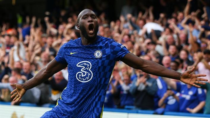 Romelu Lukaku celebrates his opening goal in Chelsea's win over Aston Villa