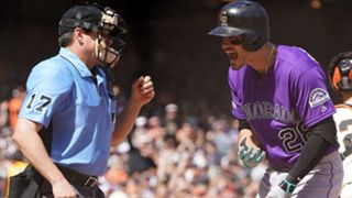 Nolan Arenado argues call