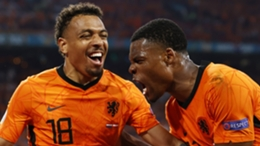 Denzel Dumfries (right) celebrates his second goal of Euro 2020