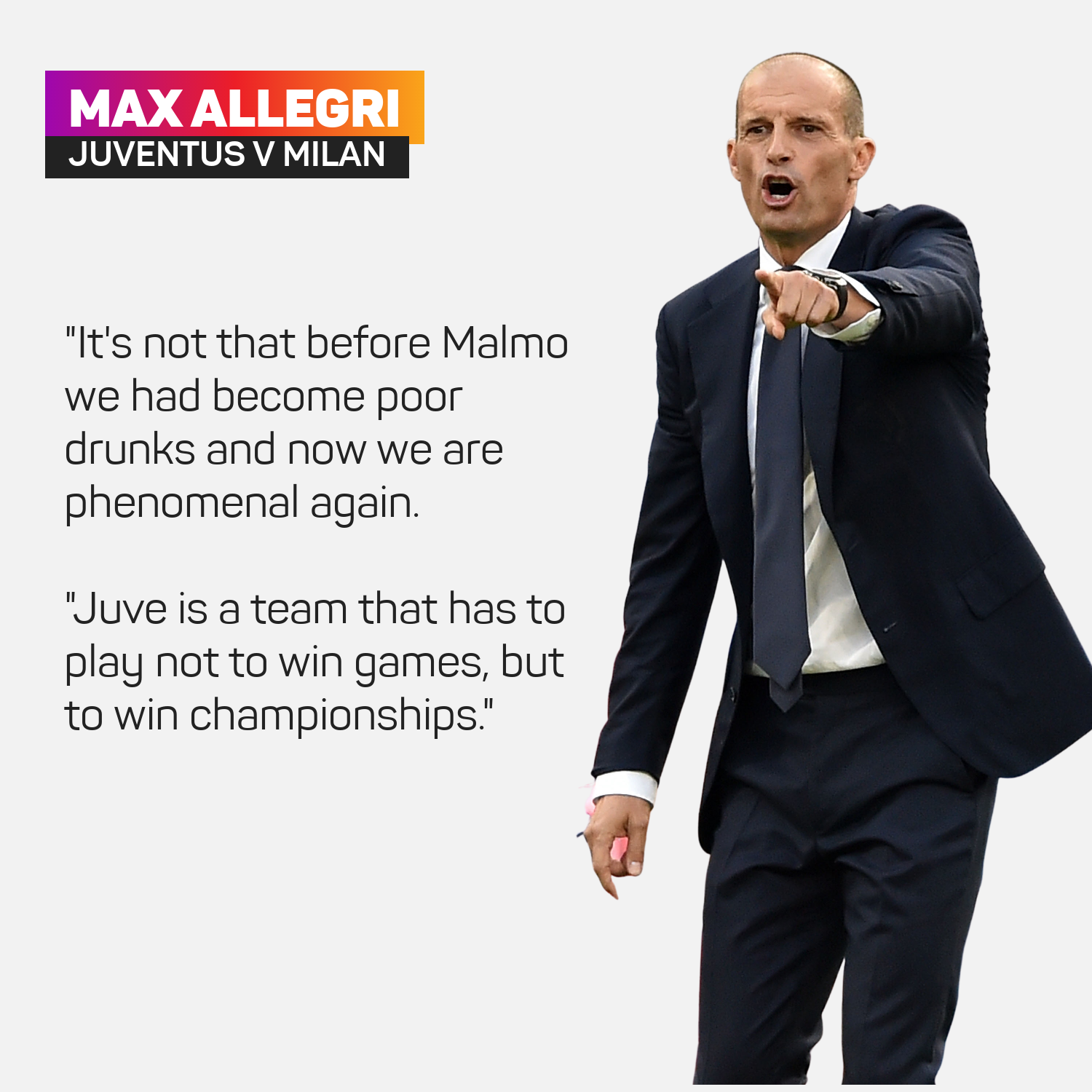 Massimiliano Allegri is warning Juventus not to get complacent after their Champions League win
