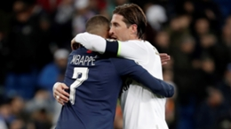 Sergio Ramos and Kylian Mbappe