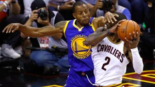 Andre Iguodala (left) and Kyrie Irving