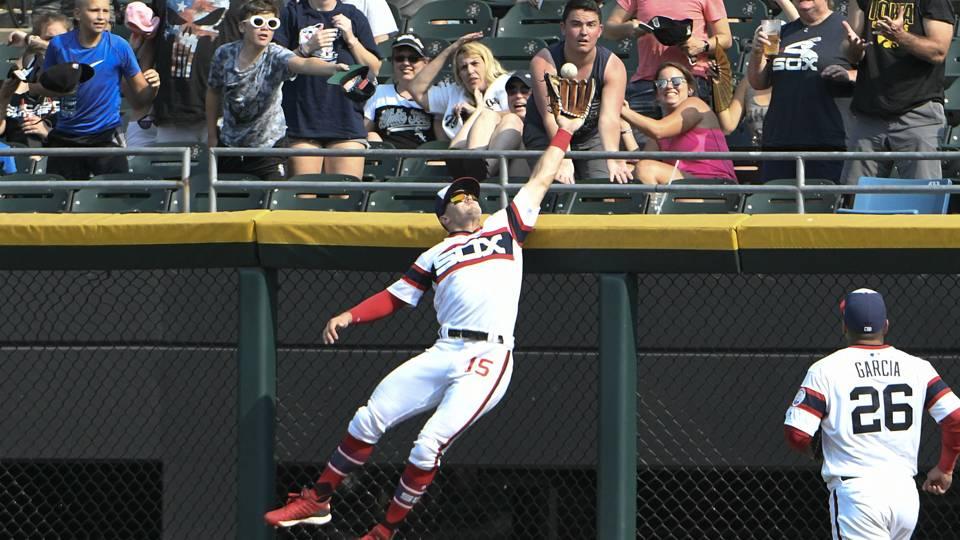 Watch: White Sox center fielder Adam Engel robs third home run in week