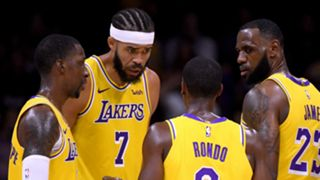 LeBron James, far right, and Lakers teammates
