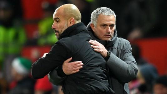 Pep Guardiola and Jose Mourinho - cropped