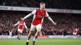 Emile Smith Rowe celebrates scoring Arsenal's third goal