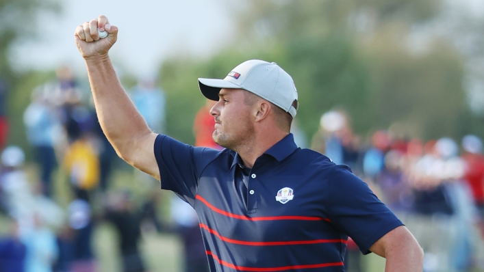 Bryson DeChambeau gets the celebrations going for the USA