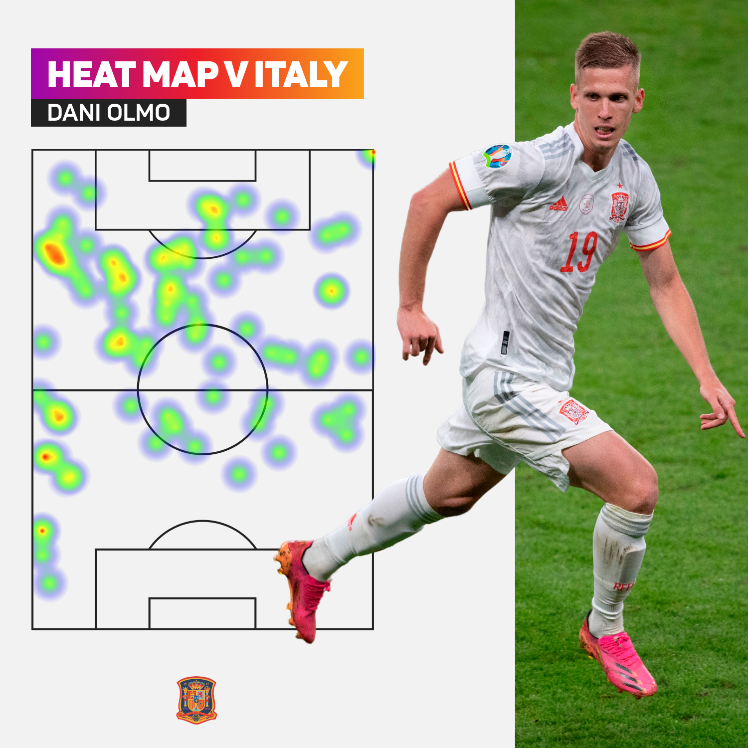 Dani Olmo's heat map against Italy