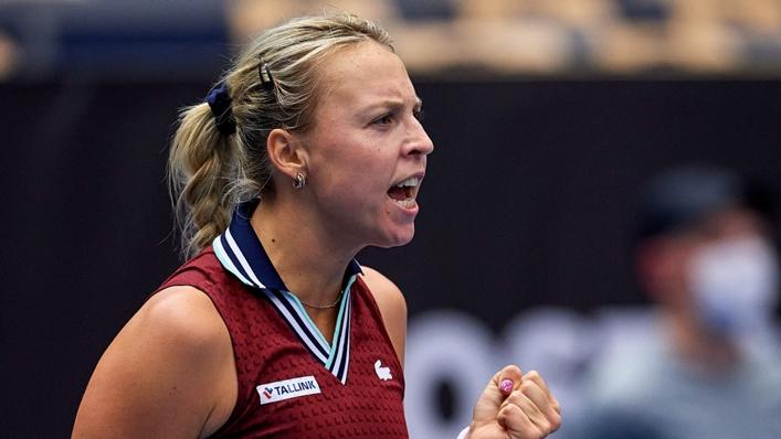 Anett Kontaveit celebrates her win over Belinda Bencic