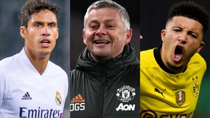 Raphael Varane (L) and Jadon Sancho (R) have joined Manchester United for 2021-22
