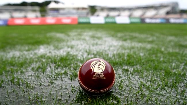 A cricket ball lies on the sodden Ageas Bowl outfield