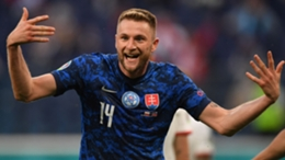 Slovakia's Milan Skriniar celebrates his winning goal against Poland