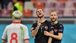 Austria forward Marko Arnautovic celebrates scoring against North Macedonia