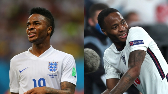 Raheem Sterling at the 2014 World Cup (left) and Euro 2020
