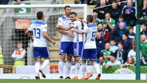 Bosnia-Herzegovina's players celebrate Elvis Saric's goal - cropped