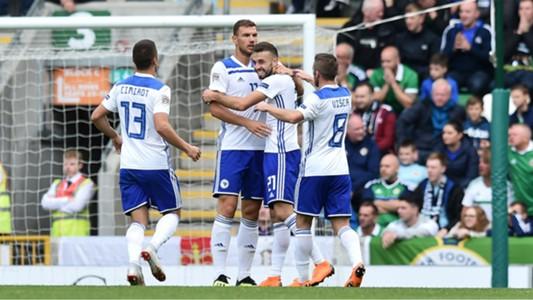 Bosnia-Herzegovina's players celebrate Elvis Saric's goal - cropped