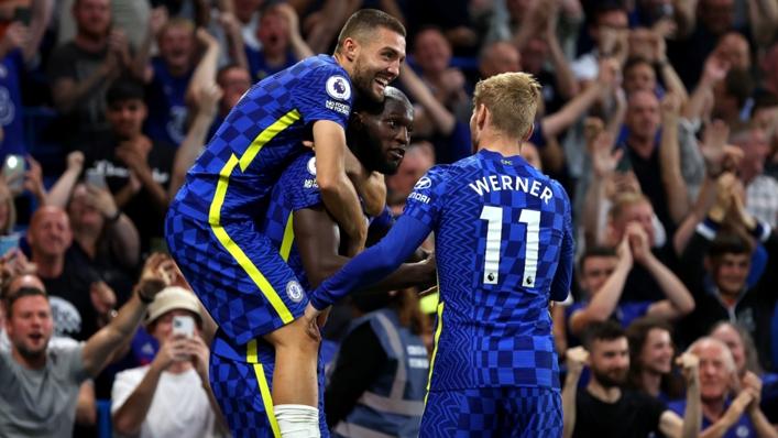 Romelu Lukaku celebrates with Mateo Kovacic and Timo Werner