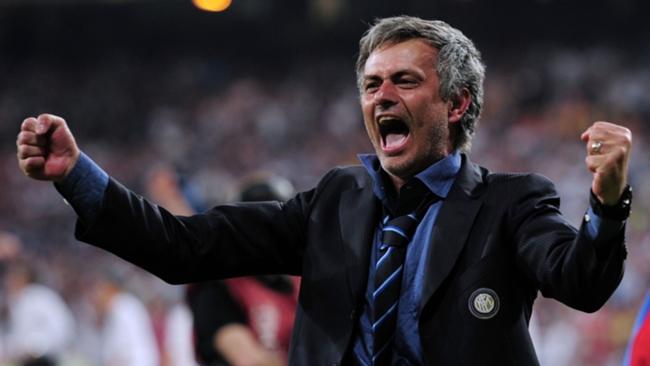 Jose Mourinho celebrates as Inter coach