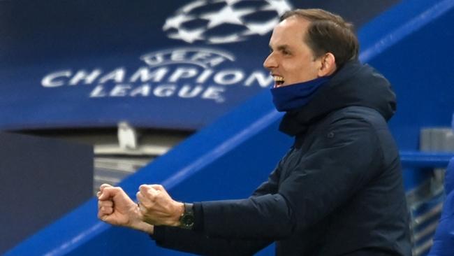 Thomas Tuchel celebrates Chelsea's second goal against Real Madrid