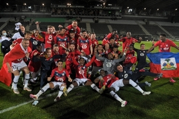Lille celebrate winning the Ligue 1 title