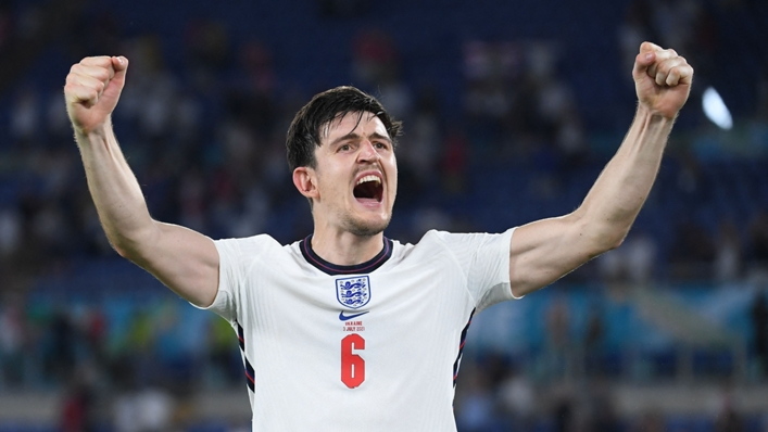Harry Maguire celebrates England's victory over Ukraine