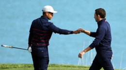Xander Schauffele (L) and Patrick Cantlay were backed by Tiger Woods