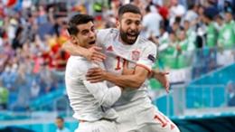 Jordi Alba celebrates his goal against Switzerland