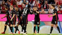 Frankfurt's players celebrate Filip Kostic's winner
