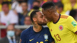 Neymar and Mina square up to each other during the 0-0 draw between Brazil and Colombia