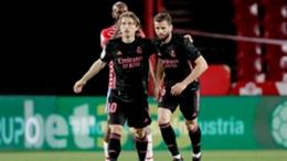 Real Madrid's Luka Modric (left) celebrates his goal against Granada