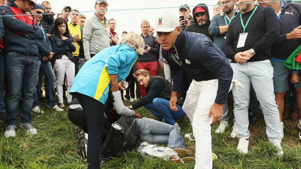 Ryder Cup 2018: Brooks Koepka shaken after tee shot hits spectator in face
