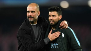 Pep Guardiola with Sergio Aguero