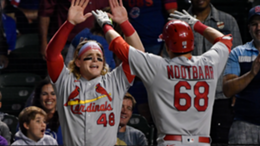Harrison Bader #48 and Lars Nootbaar #68 of the St. Louis Cardinals celebrate after a home run in the seventh inning in game two of a doubleheader against the Chicago Cubs