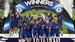 Chelsea celebrate their Super Cup win