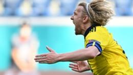 Emil Forsberg after scoring for Sweden against Slovakia