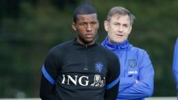 Georginio Wijnaldum takes part in a Netherlands training session