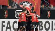 Rennes players celebrate - cropped