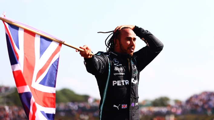 Lewis Hamilton celebrates his British Grand Prix victory