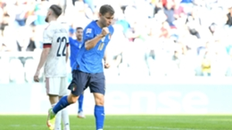 Nicolo Barella celebrates after opening the scoring against Belgium in the Nations League on Sunday