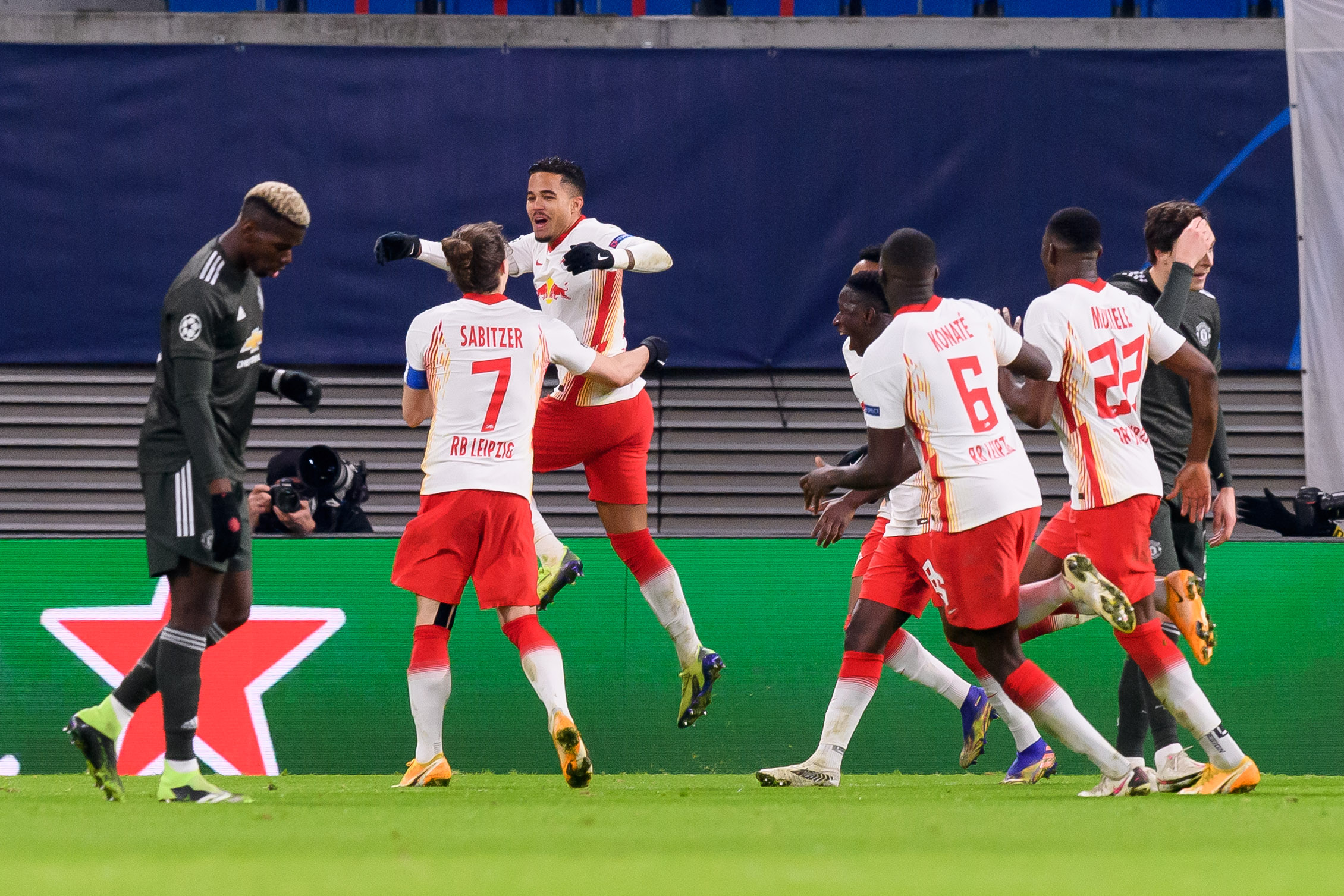 RB Leipzig celebrate against Man United on Tuesday