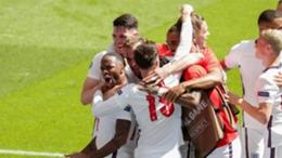 Raheem Sterling celebrates his winner for England against Croatia