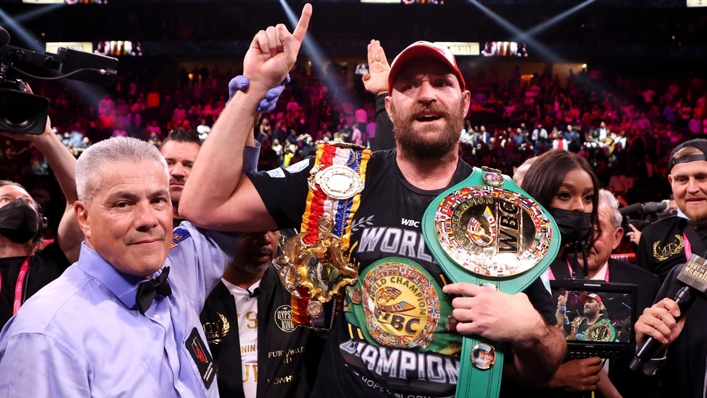 Tyson Fury following his knockout of Deontay Wilder