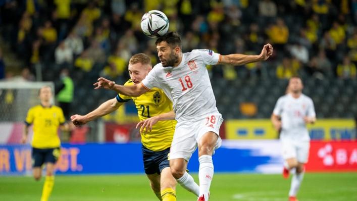 Jordi Alba in action for Spain against Sweden on Thursday