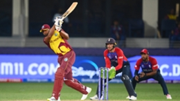 West Indies captain Kieron Pollard in action against England