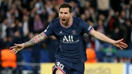 Lionel Messi of PSG celebrates his goal during the UEFA Champions League group A match between Paris Saint-Germain (PSG) and Manchester City (Man City) at Parc des Princes