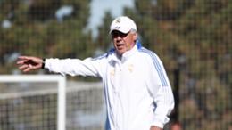Carlo Ancelotti oversees a training session ahead of El Clasico