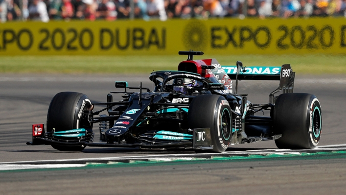 Lewis Hamilton's Mercedes on the way to victory at the British Grand Prix